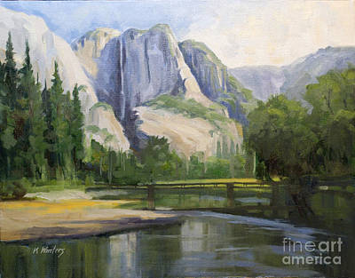 Yosemite Painting - Yosemite Falls - Merced River Swinging Bridge by Karen Winters