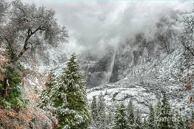 Photograph - Yosemite Falls Winter Fury by Wayne Moran
