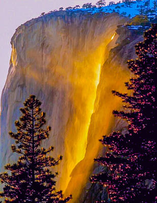 Photograph - Yosemite Firefall Painting by Dr Bob Johnston