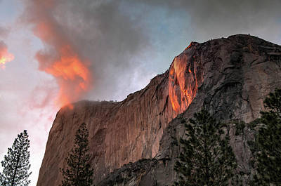 Photograph - Yosemite, Horsetail Falls, Cloudy Sunset by Connie Cooper-Edwards