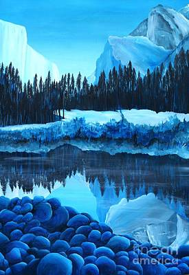 Phthalo Blue Painting - Yosemite In Blue by Madelaine Kobe