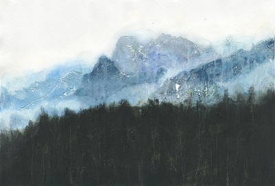 Yosemite National Park Mixed Media - Yosemite, In Blue by Rebecca Kuruvilla