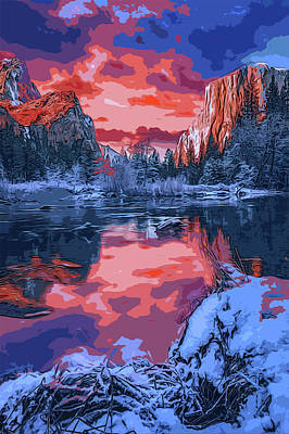 Painting - Yosemite In Winter by Andrea Mazzocchetti