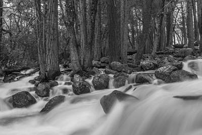 Photograph - Yosemite Long Exposure River Black And White  by John McGraw