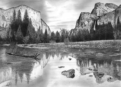 El Capitan Drawing - Yosemite Lookout Point Drawing by James Schultz