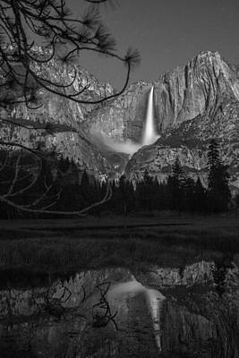 Photograph - Yosemite Moonbow Black And White  by John McGraw