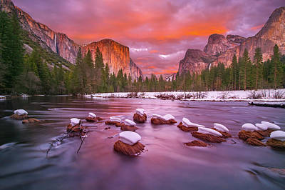 Photograph - Yosemite National Park At Dusk With Snow Caps by William Lee