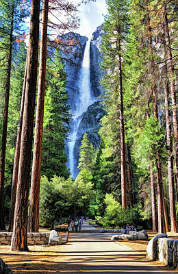 Painting - Yosemite National Park Bridalveil Fall Trees by Christopher Arndt