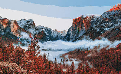 Painting - Yosemite National Park In Autumn by Andrea Mazzocchetti