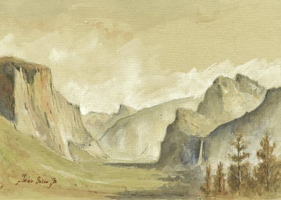 Painted Landscape Painting - Yosemite National Park by Juan Bosco