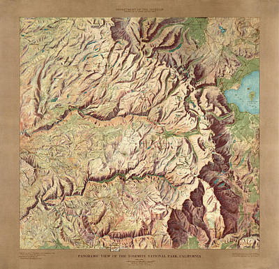 Yosemite National Park Drawing - Yosemite National Park Map By The Us Geological Survey - 1914 by Blue Monocle