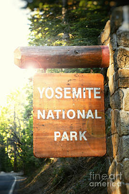 Instant Photograph - Yosemite National Park Sign by Jane Rix