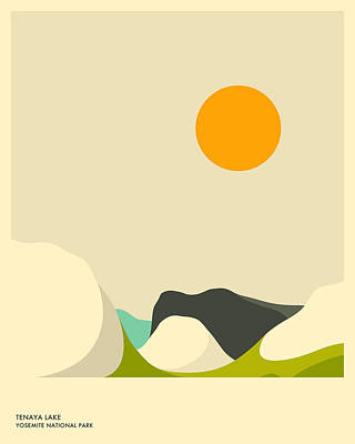 Minimal Landscape Digital Art - Yosemite National Park, Tenaya Lake by Jazzberry Blue