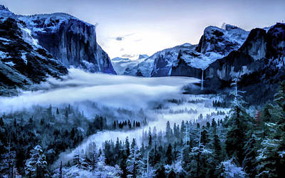 Painting - Yosemite National Park Tunnel View Snowy Morning by Christopher Arndt