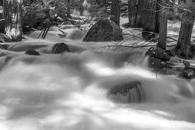 Photograph - Yosemite River Black And White by John McGraw
