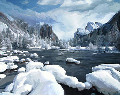 Yosemite National Park Digital Art - Yosemite Snow by Paul Tagliamonte