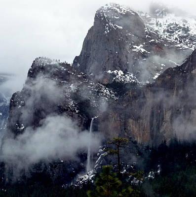 Yosemite Snowy Bridalveil Falls  Art Print