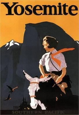 Mixed Media - Yosemite - Southern Pacific - Woman On Horseback - Retro Travel Poster - Vintage Poster by Studio Grafiikka