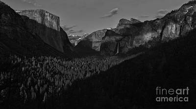 Photograph - Yosemite Tunnel View Black And White by Adam Jewell