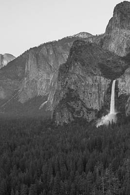 Photograph - Yosemite Valley Black And White With Waterfall  by John McGraw