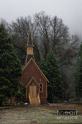 Photograph - Yosemite Valley Chapel Winter Storm by Wayne Moran