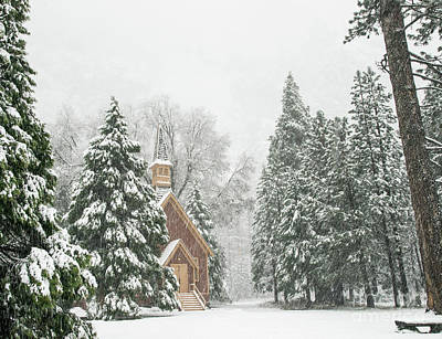 Photograph - Yosemite Valley Chapel Winter by Wayne Moran