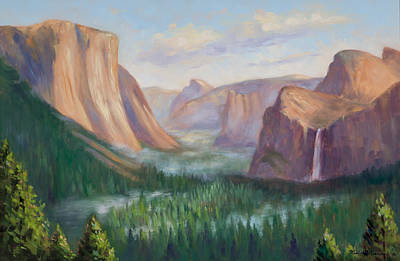Yosemite Painting - Yosemite Valley by Karin  Leonard