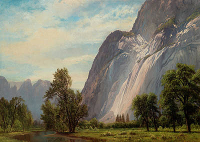 Cathedral Rock Painting - Yosemite Valley Looking Toward Cathedral Rocks by Albert Bierstadt