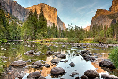Yosemite Valley Reflected In Merced River Art Print by Ben Neumann