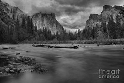 Photograph - Yosemite Valley View Black And White by Adam Jewell