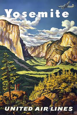 Half Dome Digital Art - Yosemite Valley Vintage Travel 1945 by Daniel Hagerman