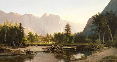 Cathedral Rock Painting - Yosemite Valley by William Keith