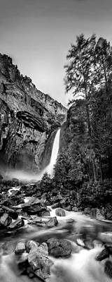 White And Black Waterfalls Photograph - Yosemite Waterfall Bw by Az Jackson