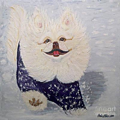 Painting - Yoshi The Pekiningese Snowsurfer by Ania M Milo