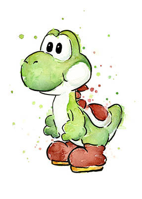 Cartoons Painting - Yoshi Watercolor by Olga Shvartsur