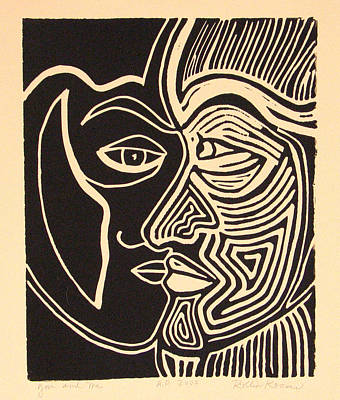 Linocut Drawing - You And Me by Rollin Kocsis