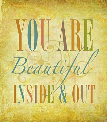 You Are Beautiful Art Print by Cindy Greenbean