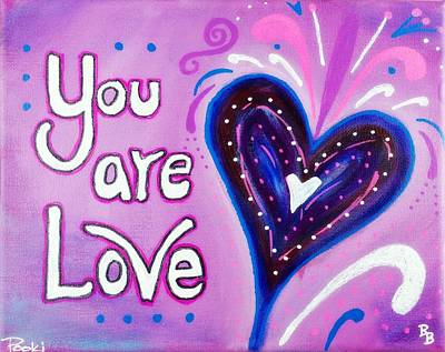 Painting - You Are Love Purple Heart by Bob Baker and Pooki Lee