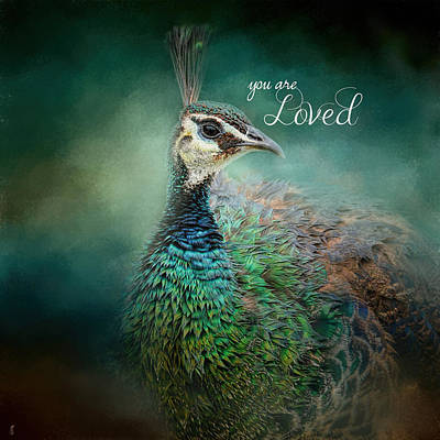 Photograph - You Are Loved - Peacock Art by Jai Johnson