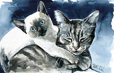 Painting - You Are Mine - Cat Painting by Dora Hathazi Mendes