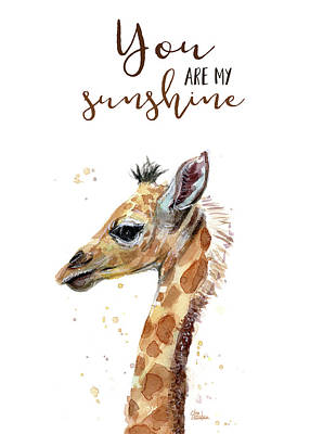 Giraffes Painting - You Are My Sunshine Giraffe by Olga Shvartsur