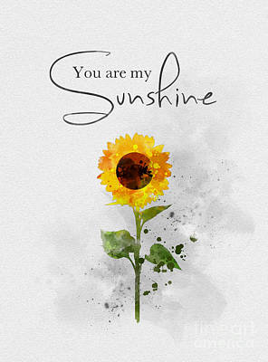 Sunflower Mixed Media - You Are My Sunshine by Rebecca Jenkins