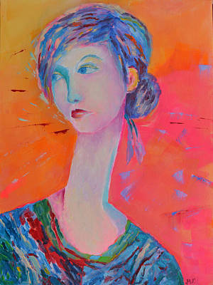 Blue And Pink Dance Painting - Woman Portrait Painting Pink by Magdalena Walulik
