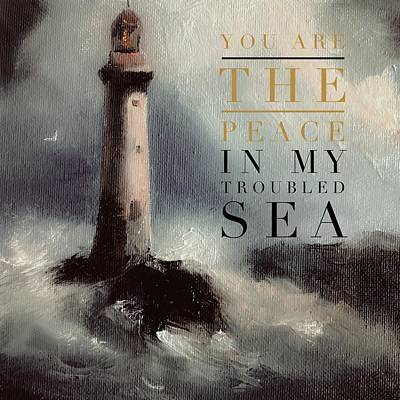Painting - You Are The Peace In My Troubled Sea Lighthouse by Michele Carter