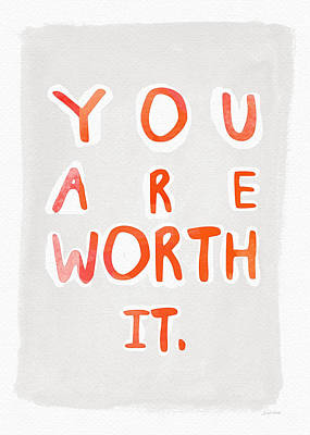 Note Card Painting - You Are Worth It by Linda Woods