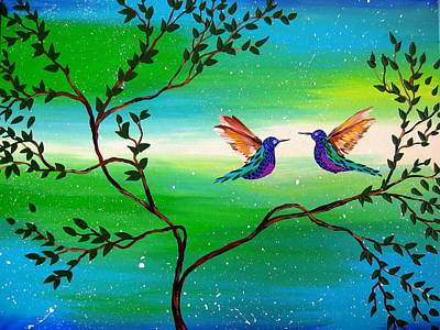 Hummingbird Painting - You Complete Me by Cathy Jacobs