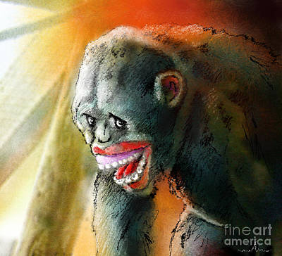 Chimpanzee Mixed Media - You Crack Me Up by Miki De Goodaboom