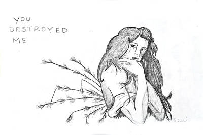 Fallen Angel Drawing - You Destroyed Me by Rebecca Wood