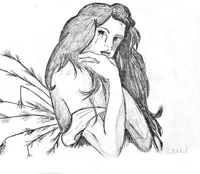 Fallen Angel Drawing - You Destroyed Me Without Quote by Rebecca Wood