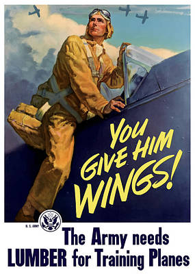 Us Army Fighters Painting - You Give Him Wings - Ww2 by War Is Hell Store